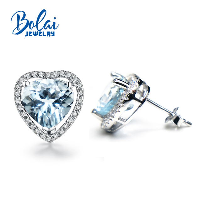 Bolaijewelry 2018 Hot Heart Shaped Sweet Natural Aquamarine Gemstone Earring 925 Sterling Silver Fine
