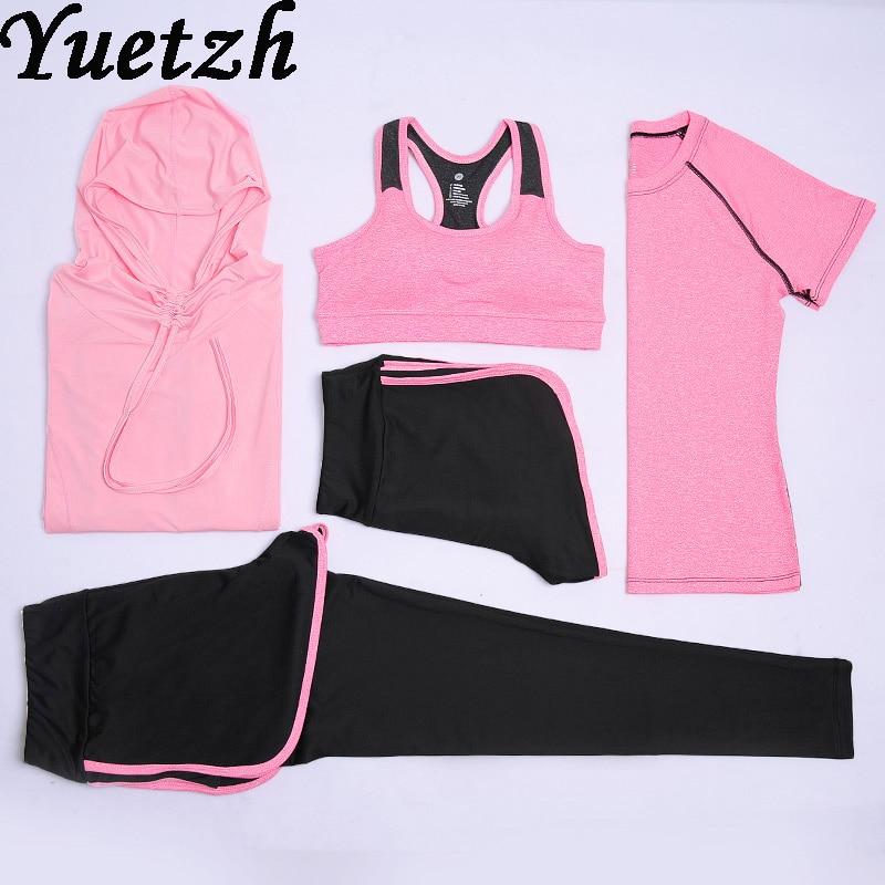 5 pièces femmes yoga course costume sport vêtements de fitness russe combishort combinaison pour célèbre soutien-gorge T-shirt vêtements casseroles