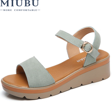 MIUBU 2019 Women Sandals Shoes Summer Suede Leather Thick Heel Wedge Platform Sandals Ankle Strap Retro Flat Sandals Women beyarne summer sandals genuine leather shoes women thick heel platform sandals for women slippers ethnic sandals