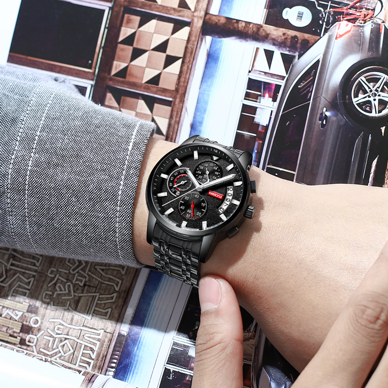 NIBOSI 2019 New Brand Quartz Watch Men Sport Watches Men Steel Band Military Clock Waterproof Gold Wrist Watch Relogio Masculino