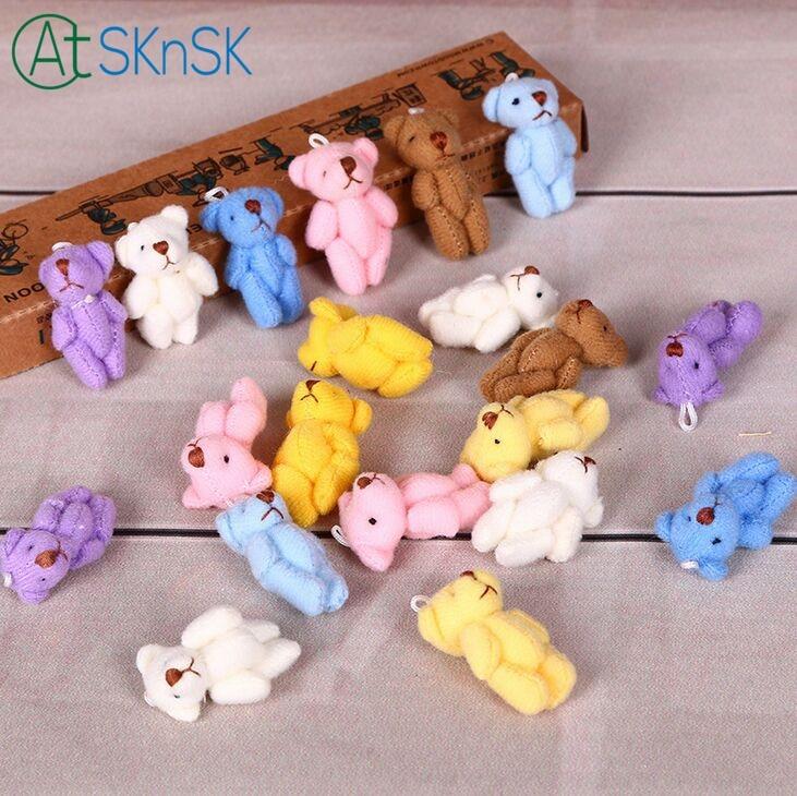 600pcs/lot wholesale DHL shipping 3.5cm tall multi color plush Teddy bear doll pendant keychain bouquet stuffed bear plush gift