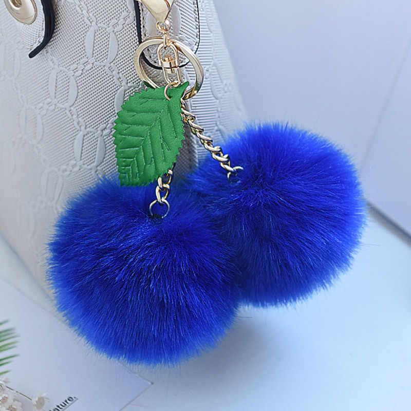 Cereja Pingentes Imitação raposa cabelo do Anel Chave Do Carro Chaveiro dupla Faux Fur Pompom Chaveiro Linda Bolsa Chaveiros Para Presente K1676