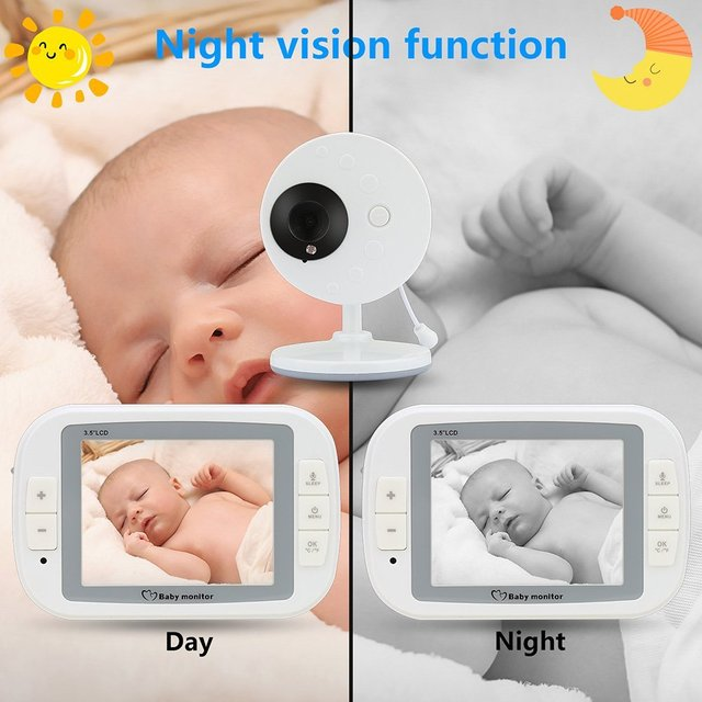 babykam baby monitor with camera 3.5 inch IR Night Vision Temperature Sensor Lullabies intercom baby monitors video nanny camera 1