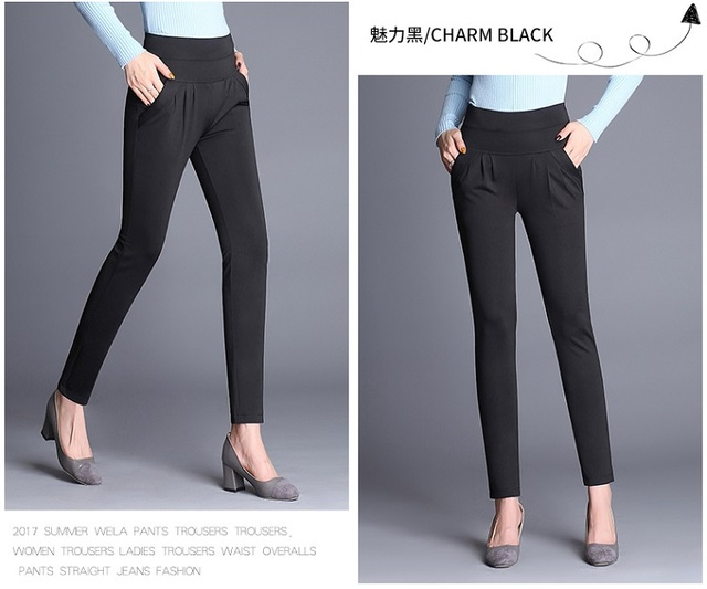New Fashion Women's Elegant High Waist Casual pencil Pants Ladies Candy Color Wild Pocket Office OL Pants Plus Size 4XL Trousers Pants & Capris