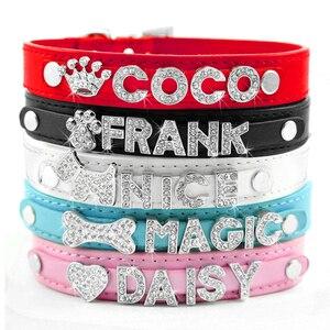 Image 2 - Collares para perro cachorro con diamantes de imitación ostentosos, Collar personalizado para perros pequeños y Chihuahua, dijes con nombre gratis, accesorios para mascotas