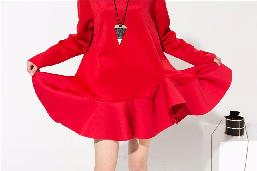 [EAM] 2018 Autumn New Fashion Space Cotton O-neck Long Sleeve Stitching Ruffles Hemline Tide Casual Mini Dree Women AS12043