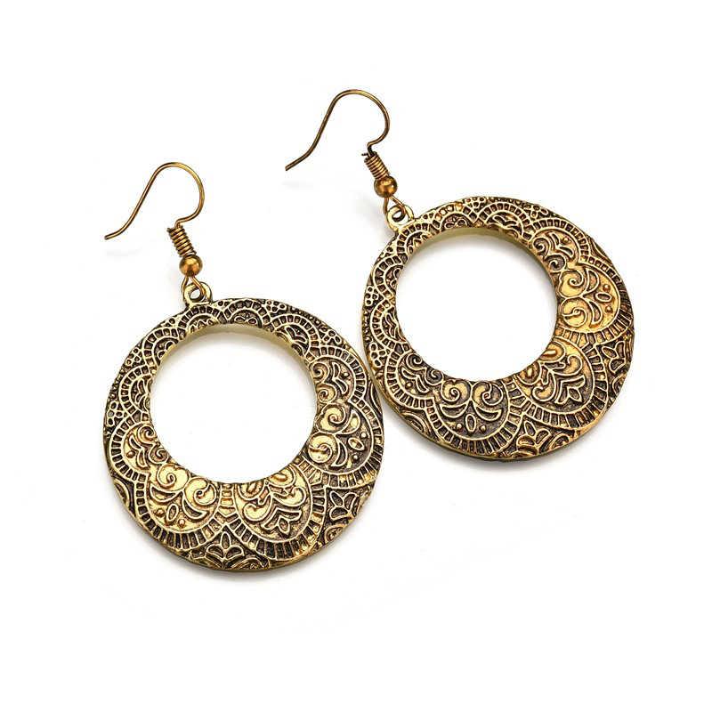 قرط بنجلاديشي دائري كلاسيكي فريد منحوت يدويًا للنساء مجوهرات باكستانية من مصر الغجر