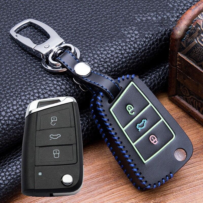 Image 3 - Ручная швейная светящаяся кожаная сумка для ключей чехол для VW Golf 7 mk7 Skoda Octavia A7 Polo Key Portection автомобильные аксессуары-in Футляр для автомобильного ключа from Автомобили и мотоциклы