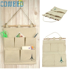 Folding Cotton Storage Bag 5 pocket wall hanging bags multi layer fabric debris storage fashion pastoral