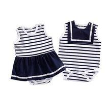fdad7132b Cotton Striped Baby Bodysuits Summer Infant Sleeveless Bodysuit Baby Boy Girl  Clothes Jumpsuit Navy Blue Stripe