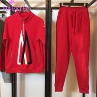 Брендовые спортивные женские комплекты Мода Осень 2019 офис леди комплект куртки и брюки для девочек для женщин утолщаются теплый комплект и