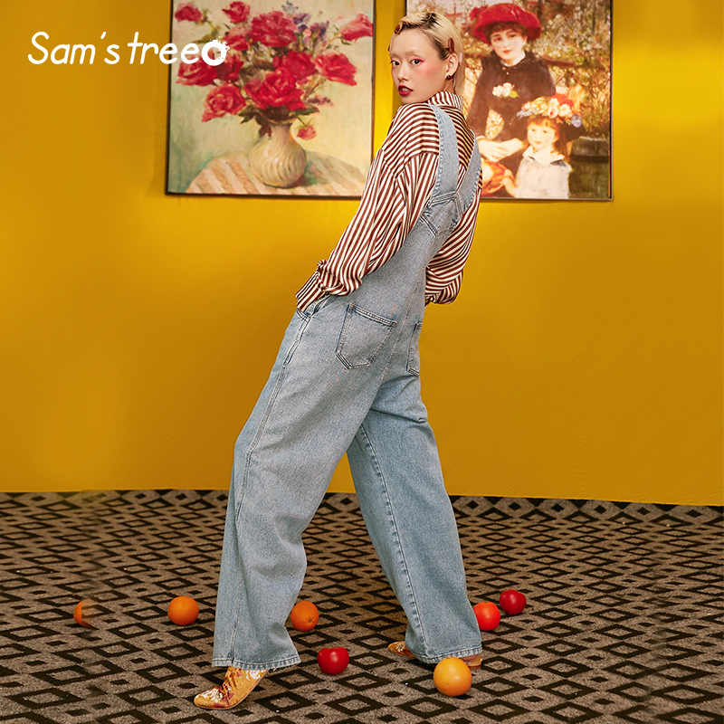Samstree Sky Blue Vrouwen Jumpsuits, 2019 Herfst New Casual Straight Vrouwelijke Rompertjes Mode Streetwear Mid Taille Femme Bodems