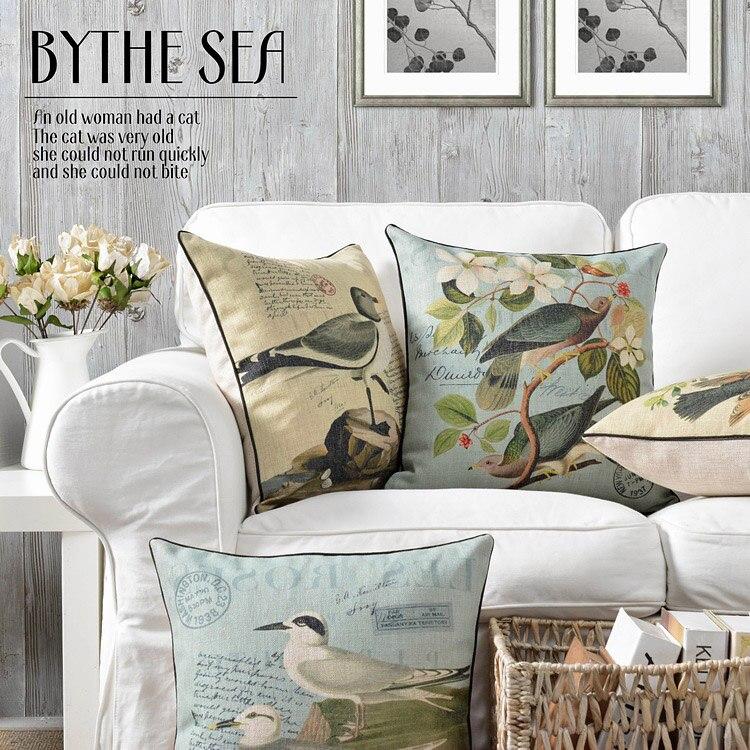 European Pastoral Birds Pillows Floral Cushions Thick Lumbar Pillows Linen Pillowcase Sofa Cushion Home Decorative Pillows