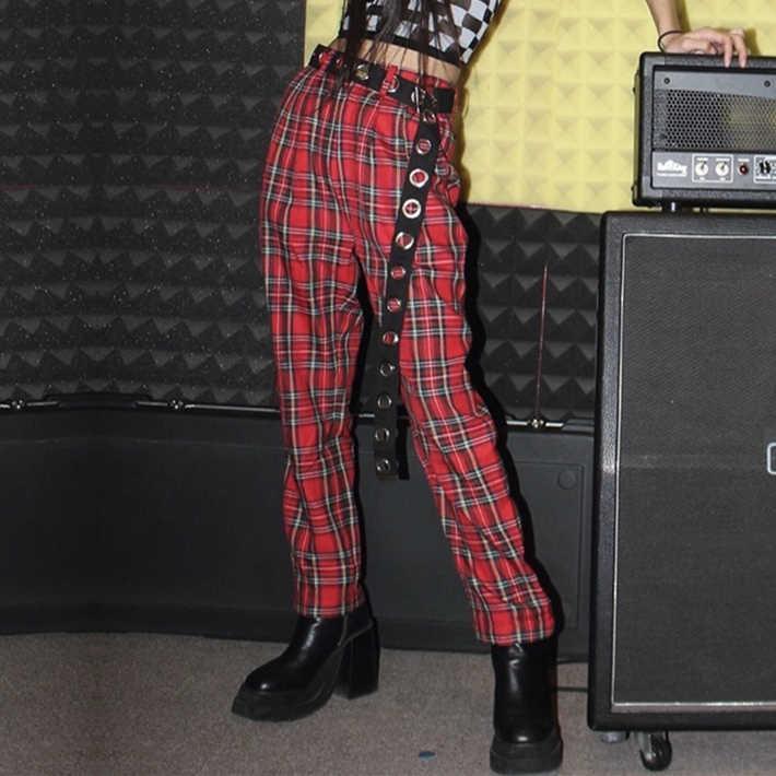 Pantalones Informales Harajuku A La Moda Para Mujer Ropa A Cuadros Haren Nuevo Rojo Otono E Invierno 2018 Pantalones Y Pantalones Capri Aliexpress
