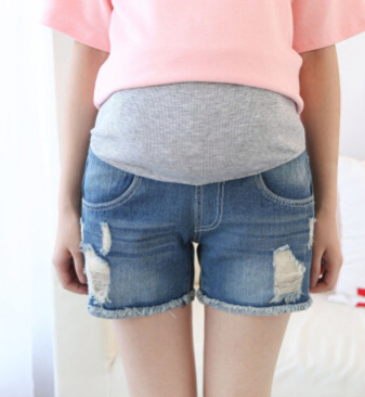 Летние Короткие джинсы для беременных; повседневные шорты для беременных; одежда с регулируемой талией; простые тонкие женские брюки для ухода за животом - Цвет: blue 1