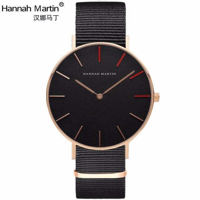 Hannah Martin Luxury Brand Watches Men Women Quartz Sports Watch Nylon Rose Gold