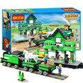 444 pçs/lote linda cor verde moda estação de trem Assemby Building Block brinquedos educativos para crianças