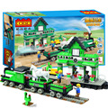 444pcs/lot Lovely Green Color Fashion Educational Train station Assemby Building Block Toys for kids