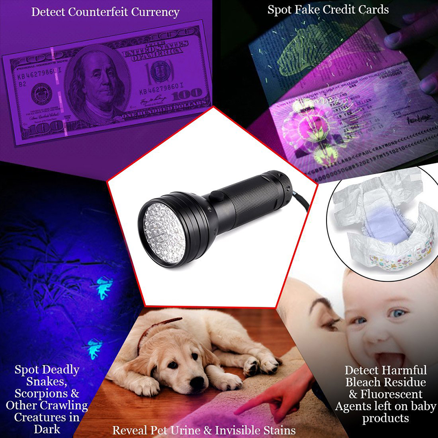 Купить с кэшбэком UV Led Flashlight Blacklight 51 Leds 395nm Ultra Violet Checking Torch Light Lamp Detector for Dog Urine Pet Stains and Bed Bug