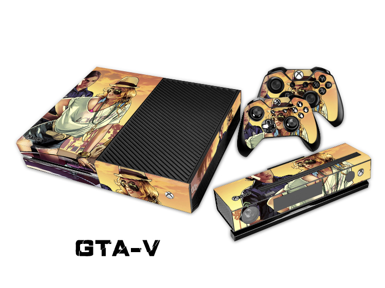 OSTSTICKER For GTA - V 5 Decal For XBOX ONE Stickers + 2 Pcs Controller Cover Skin Console Protective Flim