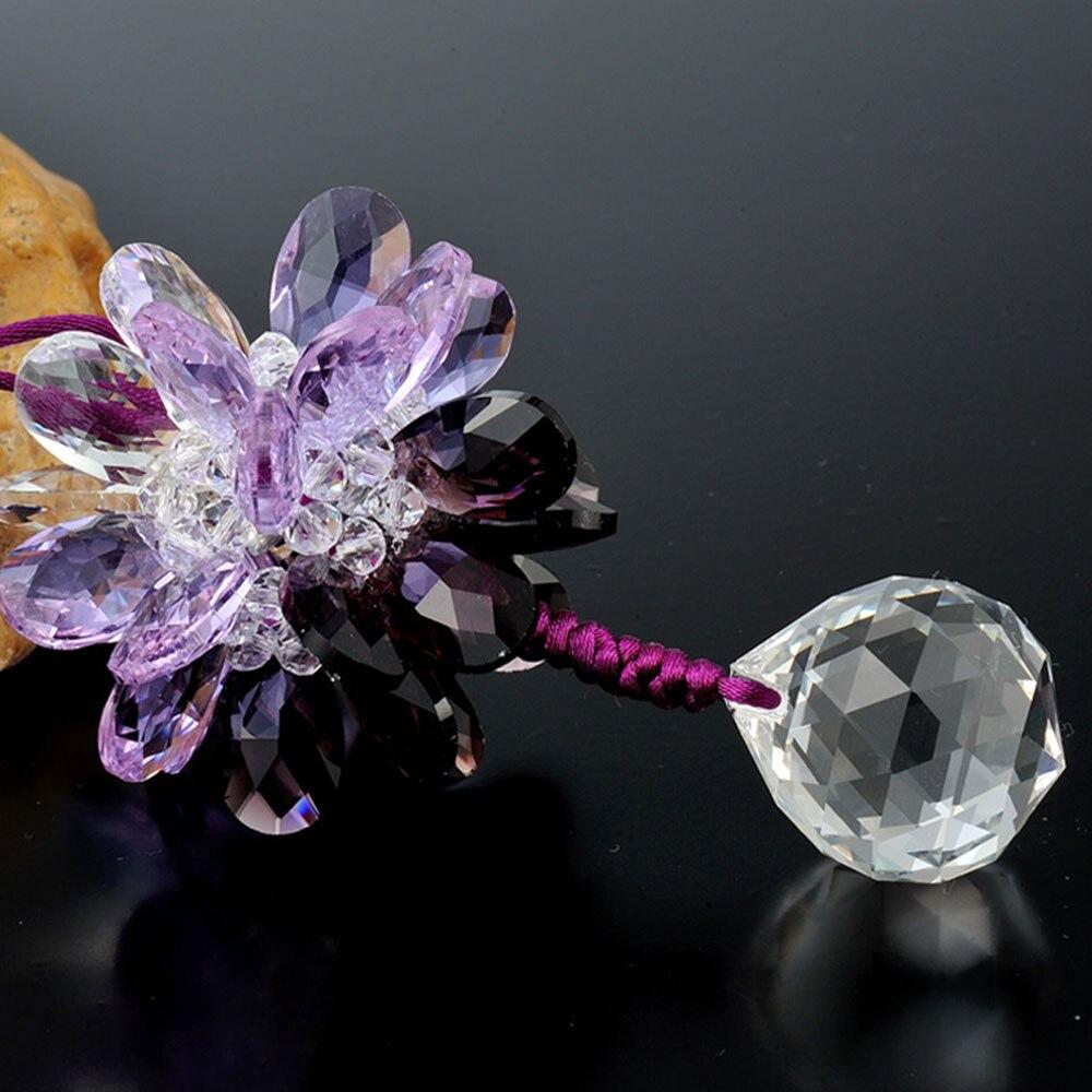 Vehemo зеркало заднего вида многоцветное украшение для салона автомобиля хрустальный кулон счастливый повесить модный красивый автомобиль Стайлинг цветок - Название цвета: Purple