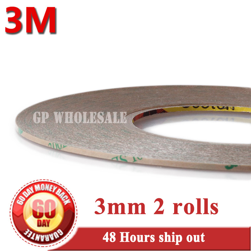 2 Rolls 3mm *55M Heat Resist Waterproof Super Strong Adhesion 3M 9495LE Transparent Tape for Nameplate Foam Lamination Screen