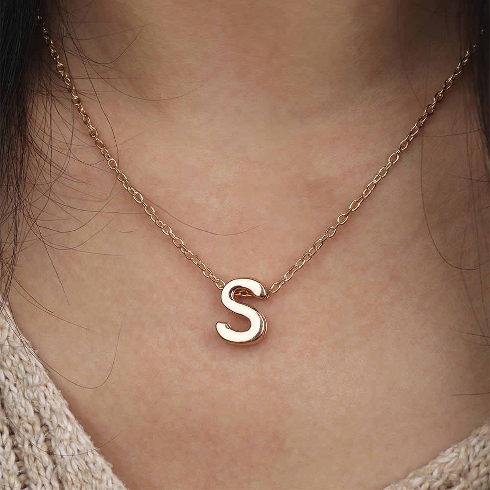 A-Z angielskie litery spersonalizowanych list stylowe dziewczyny prezent złota płyta nazwa początkowa łańcuch wisiorek naszyjnik dla kobiet mężczyzn biżuteria