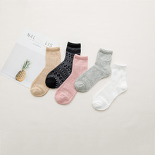 New High Quality Women Socks Grid Casual Sexy Ladies Cotton Retro Fashion Combed Female