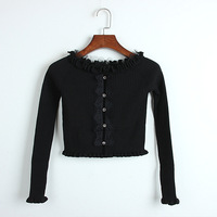 New 2019 Sexy Spring Runway Sweater Vintage Black Women Lace Knitted Ruffles Slash Neck Off Shoulder Pullover Short Tops Femmle