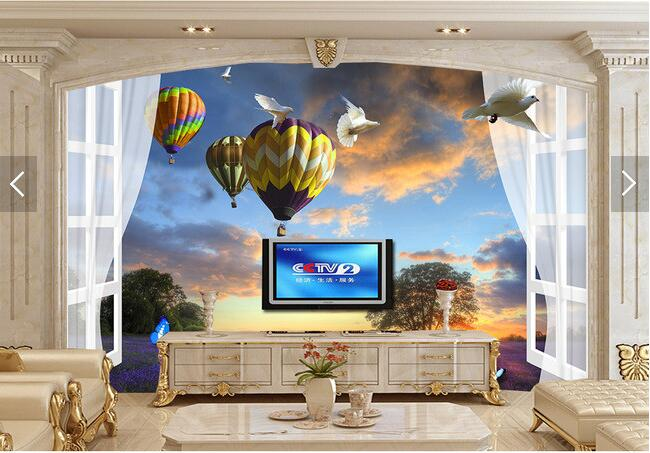 Custom 3D murals, outside the window of lavender balloon 3D landscape papel de parede,living room sofa TV wall bedroom wallpaper custom 3d stereo wallpaper murals window outside european scenery living room tv wall decoration painting papel de parede 3d