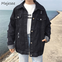 Denim Jackets BF Style Women Ulzzang Casual Loose Hole Jacket Womens Letter Printed Pockets Single Breasted Coat Students Chic