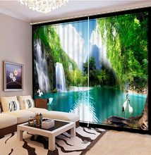 Modern Home Decoration Living Room Curtains 3d Lake landscape, bird, scenery 3D Window Curtains For Bedroom Beautiful Photo(China)