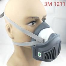 3M 1211 מסכה + 12pcs 3M 1701 מסנן גז מסכת למנוע אבק מתאים תעשייתי truction אבק אבקת אובך
