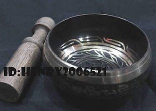 3.8 Collectibles Rare Superb Tibetan OM Ring Gong YOGA Singing Bowl Antique Garden Decoration Silver Brass