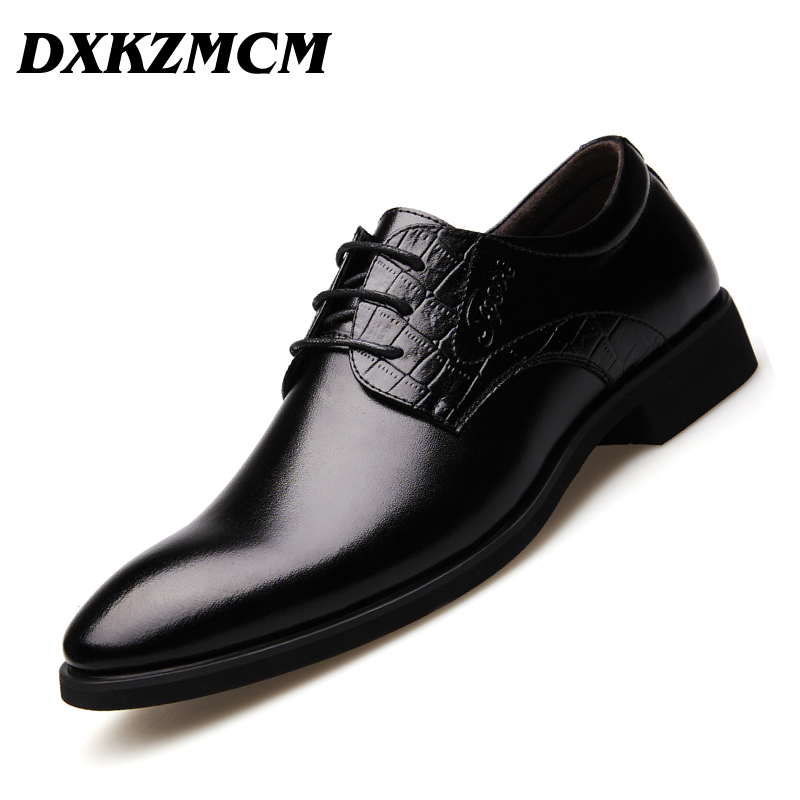 DXKZMCM Handmade Men Flat Leather Men Oxfords, Lace-Up Business Men Shoes, Men Dress Shoes