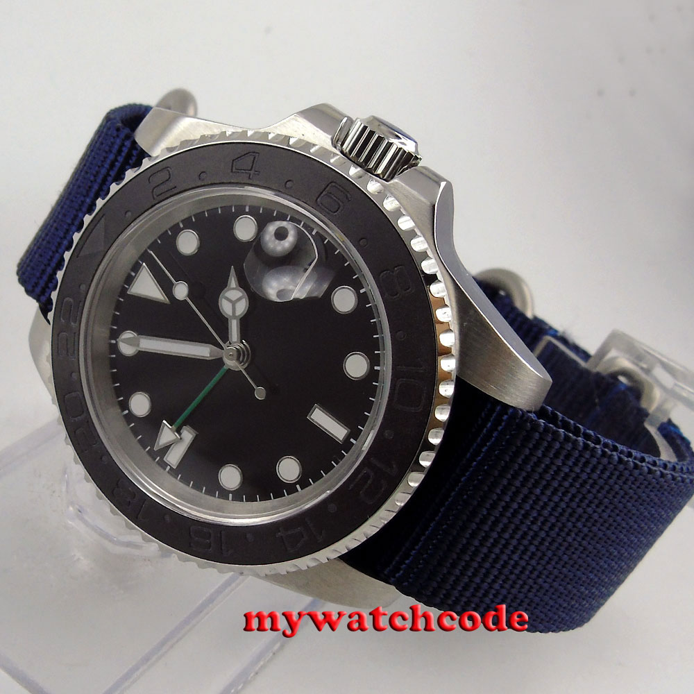 40mm parnis black GMT date window ceramic bezel sapphire crystal automatic mens watch P407 носки falke коричневый