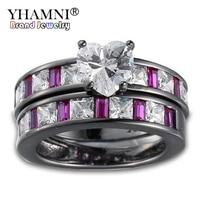 Yhamni original estilo moda mujer corazón anillo de oro negro filled Pink GEM ZIRCON boda joyería Anillos para las mujeres kr249
