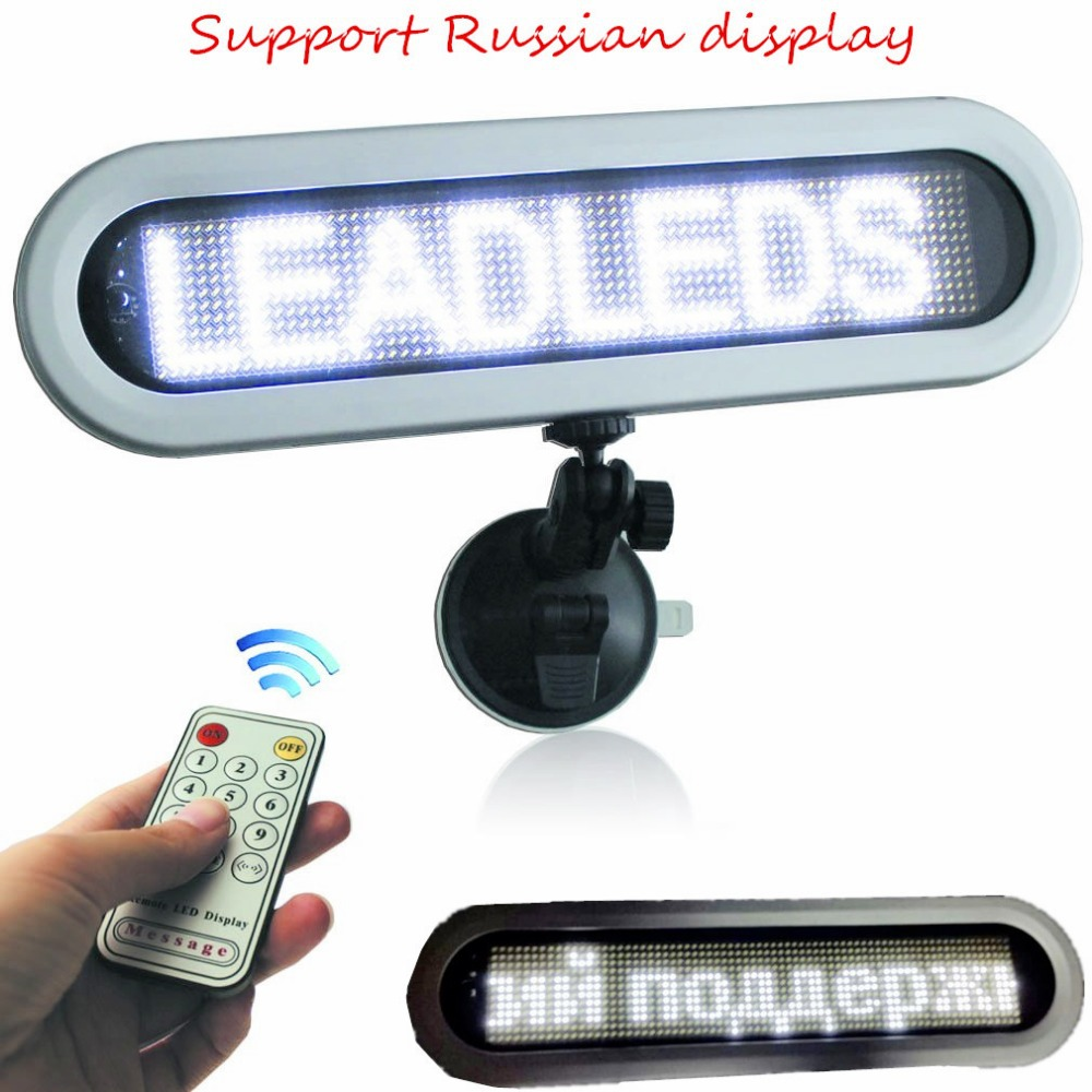 DC12v Led Car Display Board Remote Control Courtesy Led Sign For Car Taxi Bus (White Message) Pixel 12x72