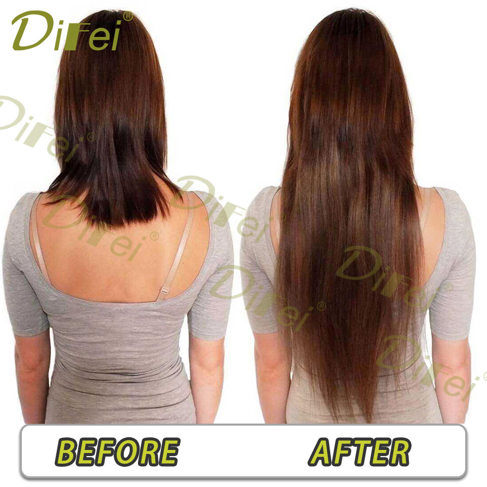 DIFEI Hiar 20 24 28 32 38 Inch 5 clips Long Straight Hair Extensions Women Black Brown High Tempreture Synthetic Hairpiece