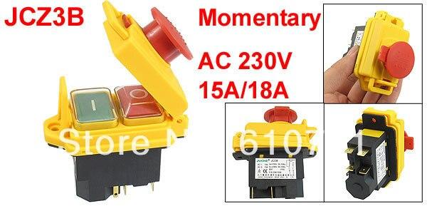 1PCS JCZ3B Waterproof  Botton 5-Pin SPST Momentary Waterproof Electromagnetic Switch 230VAC 15A/18A 5 pin dpst 2 phase 2 button momentary waterproof electromagnetic switch 230vac