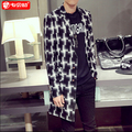 Hot sale new autumn brand fashion casual Trench personality Korean Slim outerwear Men's clothing windbreaker jacket coat