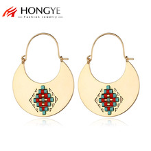 HONGYE Original Summer Design Colorful Beads Carving Vintage Moon Drop Earrings 2018 New Brincos for Women Fashion Accessories