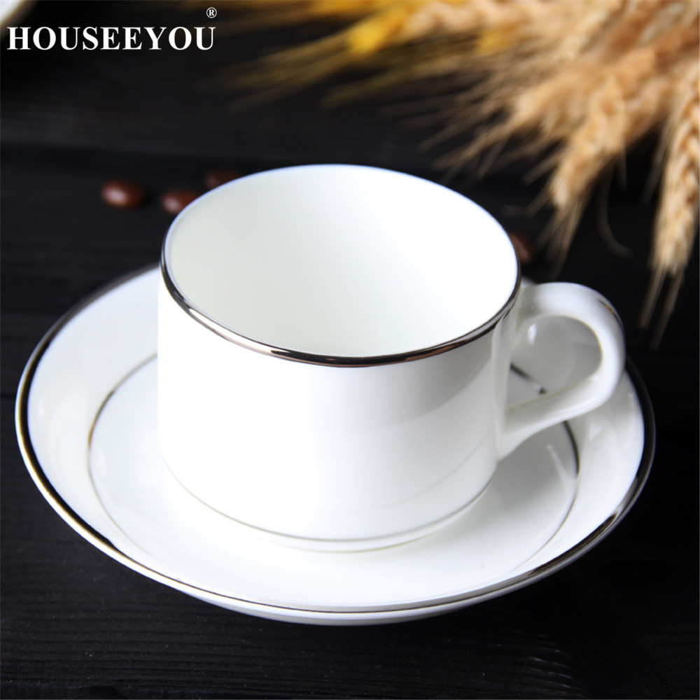HOUSEEYOU White Ceramic Coffee Cup Saucer Set Pigmented Porcelain Afternoon Tea Cup Teacup Set with Stainless Steel 304 Spoon