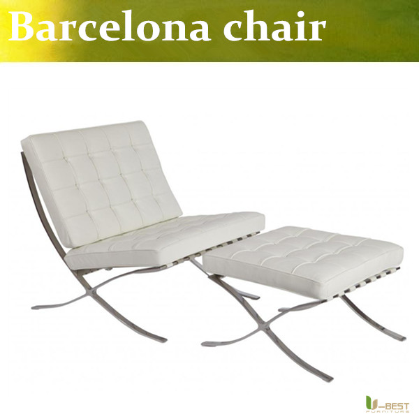 U-BEST high quality White Barcelona Chair with ottoman ,hot sell living room Barcelona chair,Genuine leather pavilion chair