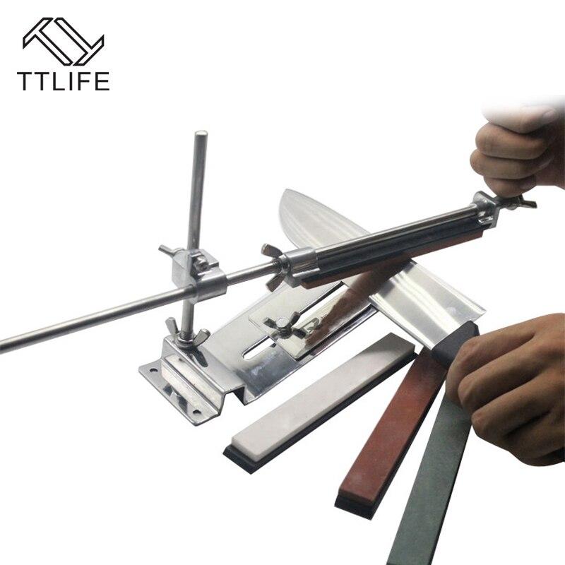 TTLIFE outils d'affûteuse de couteau de cuisine système d'affûteuse de couteau d'affûtage professionnel d'affûteuse de couteau à angle fixe avec 4 pierres