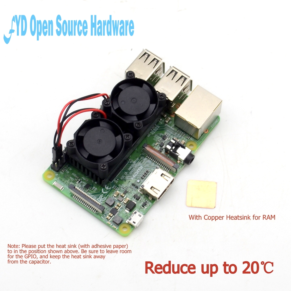 1pcs Raspberry pi Dual Fan Ultimate Heatsink Cooler with Double Cooling Fans For Raspberry Pi 3/2 Model B / B NESPi Retroflag1pcs Raspberry pi Dual Fan Ultimate Heatsink Cooler with Double Cooling Fans For Raspberry Pi 3/2 Model B / B NESPi Retroflag
