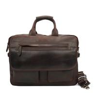 Винтаж Для мужчин из натуральной кожи сумки тенденция 16 дюймов Бизнес дел сумка для ноутбука ручной работы из коровьей кожи один сумка