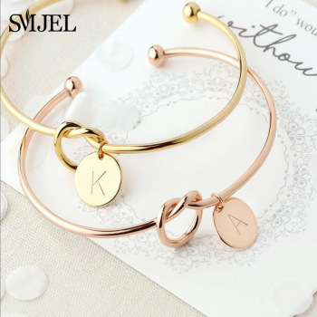 SMJEL Personalized Knot Initial Bracelets Bangles A-Z 26 Letters Initial Charm Bracelet Love Bangles
