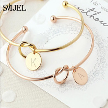 hot deal buy smjel personalized knot initial bracelets bangles a-z 26 letters initial charm bracelet love bangles for women jewelry pulseiras
