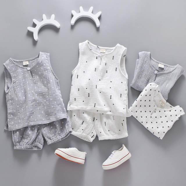 eb17413f080 Online Shop Cotton Linen Boys Girls Suit Summer Sleeveless Vest Shorts 2pcs  Suit Children Set 2018 Clothing Kids Bobo Bebe Toddler 0-5T